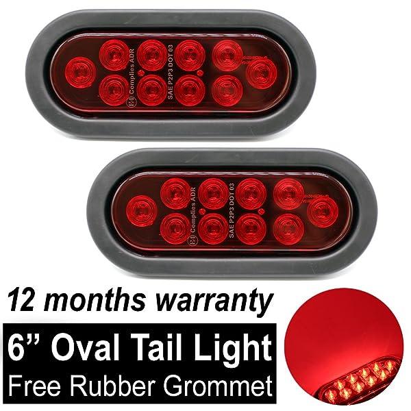 """2 Trailer Truck 6/"""" Oval 6 LED Submersible Stop//Turn//Tail Brake Light w//grommet"""