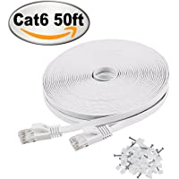 Jadaol Cat 6 50.ft Ethernet Cable with Snagless Rj45 Connectors (White)