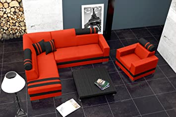 R1 Corner Sofa Bed with headrests * Brand New * Modern Design * RED AND BLACK