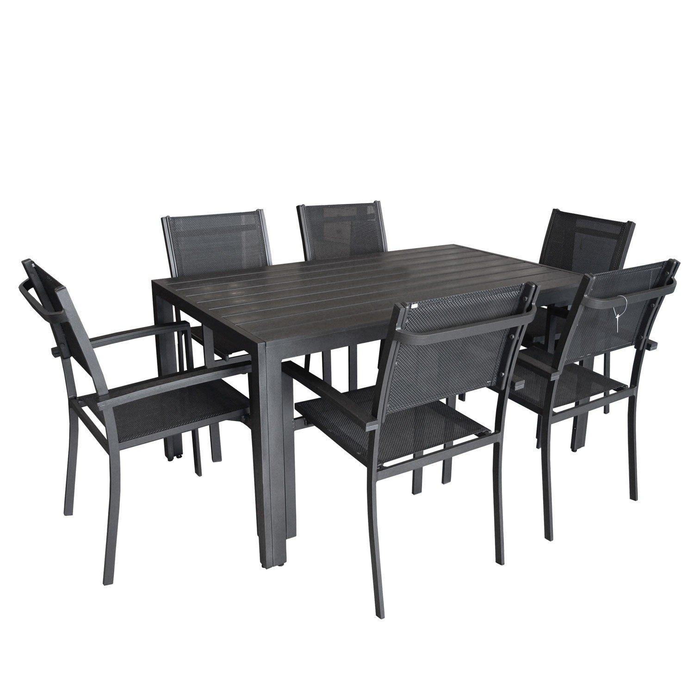 7tlg. Gartengarnitur Aluminium Polywood / Non Wood Garnitur Gartentisch150x90cm + Stapelstühle Gartenstühle mit 4x4 Textilenbespannung Sitzgruppe Sitzgarnitur Gartenmöbel