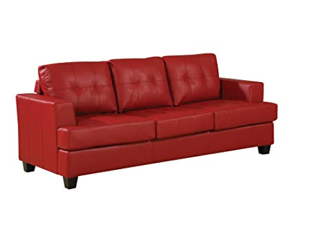 Acme 15100B Diamond Bonded Leather Sofa with Wood Leg, Red