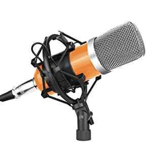 Neewer NW-700 Professional Studio Broadcasting & Recording Condenser Mic Set Including: (1)NW-700 Condenser Microphone (1)Metal Shock Mount (1)Anti-wind Foam Cap (1)Audio Cable (Orange and Silver)