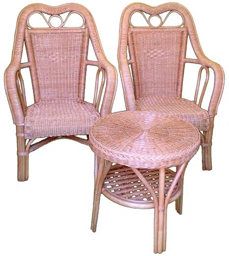 3 piezas juego de mimbre muebles