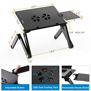 Adjustable Laptop Stand for Bed & Sofa,Portable Laptop Table Stand with 2 CPU Cooling Fans,Removable Mouse Board,Ergonomic Lap Desk TV Bed Tray Standing Desk by HUANUO (Color: Vented Adjustable Laptop Stand, Tamaño: Laptop Stand)