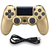 Wireless Controllers for PS4 Playstation 4 Dual Shock Six-axis,Bluetooth Remote Gaming Gamepad Joystick (Gold) (Color: Gold)