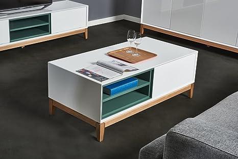 Couchtisch HEGRA weiß Hochglanz Holz, Wohnzimmertisch CAGUSTO® Eiche massiv, matt gruner Einschub, skandinavisches Design, 120 x 60 x 45 inkl. Lieferung!