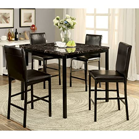 Furniture of America Petrucci 5 Piece Counter Height Dining Table Set