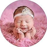 Miugle Baby Girl Glitter White Headbands with Rhinestone Tiara (Color: White, Tamaño: 0-6years)