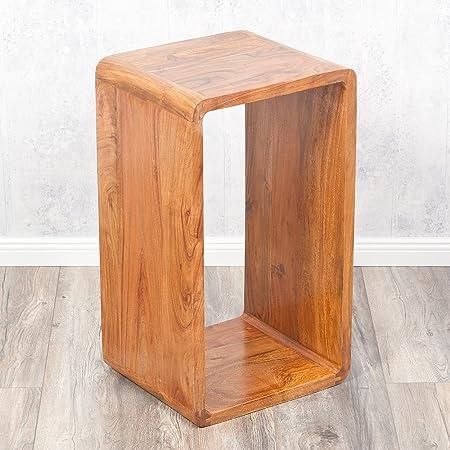 Cube LALITA Stone-A 70x40cm Massivholz Akazie Couchtisch Beistelltisch Wandregal