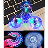 Wooce Crystal Blue LED Light Fidget Spinner -High Speed Hand Spinner Tri-Spinner for Kids Adults EDC ADHD Focus Anxiety Relief Toys (Color: Blue)