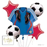 Andaz Press Balloon Bouquet Party Kit with Gold Cards & Gifts Sign, Soccer Futbol World Cup Party Foil Mylar Balloon Decorations, 1-Set (Color: Sports Soccer)