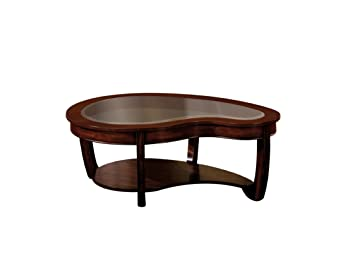 Furniture of America Byrnee Coffee Table with 5mm Beveled Glass Top, Dark Cherry Finish