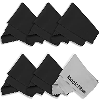 (6 Pack) MagicFiber Microfiber Cleaning Cloths – For Tablets, Lenses, and Other Delicate Surfaces (5 Black, 1 Grey)