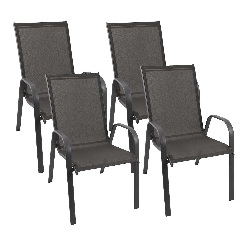 4er Set stapelbare Gartenstühle Stahlgestell pulverbeschichtet mit 2×1 Textilenbespannung Stapelstuhl Gartenmöbel kaufen