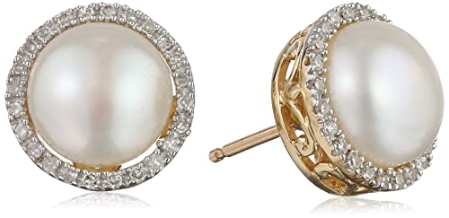 75% off on 10k Yellow Gold Lady Di Freshwater Cultured Pearl and Diamond Stud Earrings