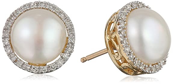 10k-Yellow-Gold-Lady-Di-Freshwater-Cultured-Pearl-and-Diamond-Stud-Earrings