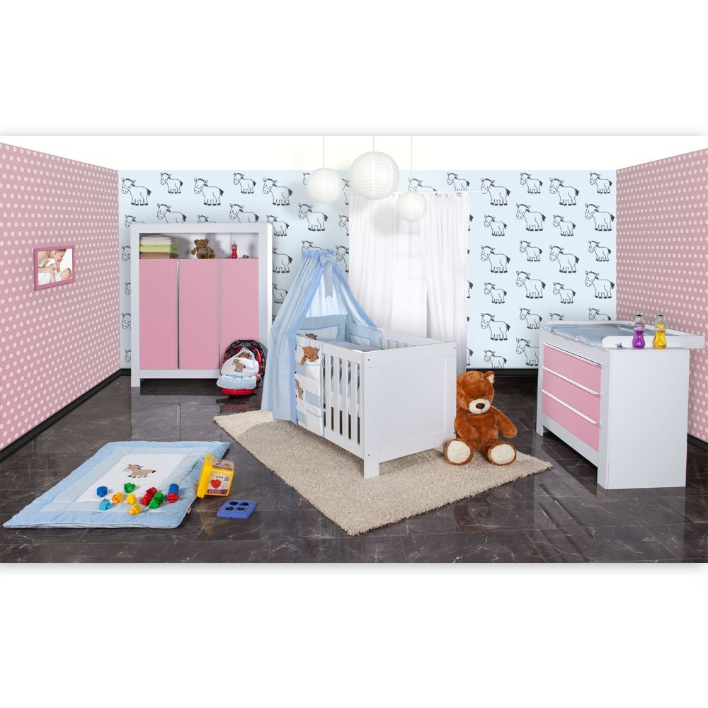Babyzimmer Felix in weis/rosa 21 tlg. mit 3 türigem Kl + Prestij in blau