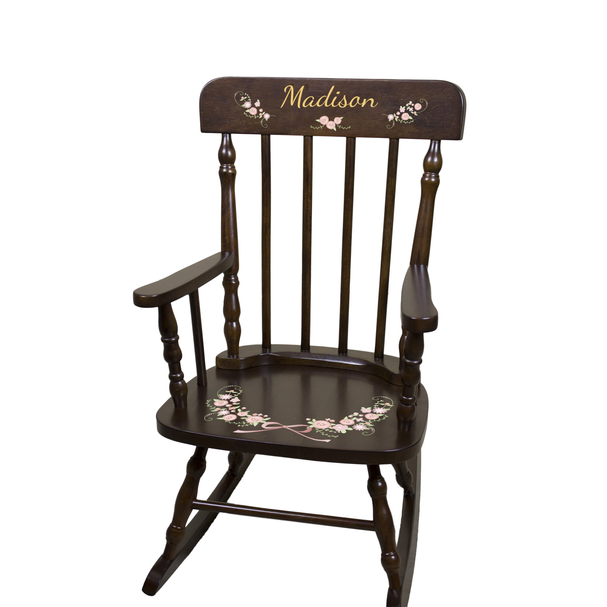 Personalized Espresso Garland Flower Rocking Chair