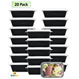 NutriBox [20 Value Pack] single one compartment 24 OZ Meal Prep Plastic Food Storage Containers - BPA Free Reusable Lunch Bento Box - Microwave, Dishwasher and Freezer Safe - For School Work or Trips