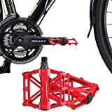 iHomeGarden Bicycle Pedals - Aluminum Alloy Mountain Bike Pedals - Flat Platform Pedals with 16 Anti-skid Pins - Universal 9/16 Inch Road Pedals for BMX/MTB Bike, City Bike Red (Color: Red)