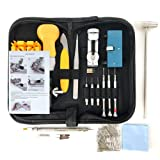 HAOBAIMEI 168 PCS Watch Repair Kit Professional Spring Bar Tool Set,Watch Battery Replacement Tool Kit,Watch Band Link Pin Tool Set with Carrying Case and Instruction Manual (Black) (Color: Black)