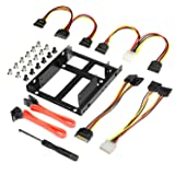 2x 2.5 Inch SSD to 3.5 Inch Internal Hard Disk Drive Mounting Kit Bracket (SATA Data Cables and Power Cables included) (Color: Metal color3, Tamaño: 2x 2.5 SSD/HDD to 3.5 Mounting Bracket Kit)