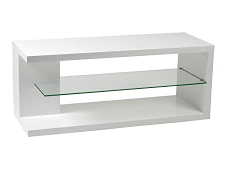 Euro Style Hilda Media Stand, White Lacquer/Clear