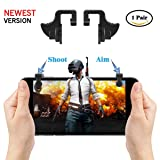 Mobile Game Controller[Newest Version], TINICR PUBG Mobile Triggers Mental Button Sensitive Shoot and Aim Keys for Knives Out/Rules of Survival, Gaming Joysticks for Android IOS(1 Pair) (Color: Black)