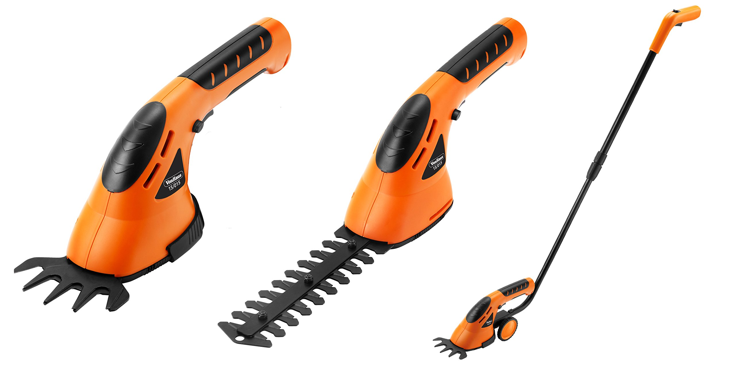 Vonhaus 3 in 1 cordless grass shears hedge trimmer for Hand held garden shears