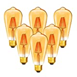 Dimmable 6W Vintage Edison LED Bulb, ST64(ST21) Antique Filament LED Light Bulbs (Amber Glass), 50W Equivalent, Soft Warm 2200K 420 Lumens, 6 Pack(2 Year Warranty) (Color: Amber)