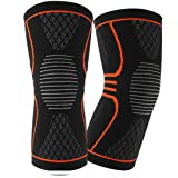 EveShine Knee Compression Sleeve (1 Pair), Best Compression Knitted Knee Support Brace with Gel Strips for Running, Sports, Jogging, Basketball, Injury Recovery for Men & Women - XL (Tamaño: X-Large)