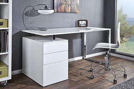 Design Schreibtisch COMPACT hochglanz weiss Burotisch 160cm Tisch Buro Chrom Arbeitszimmer