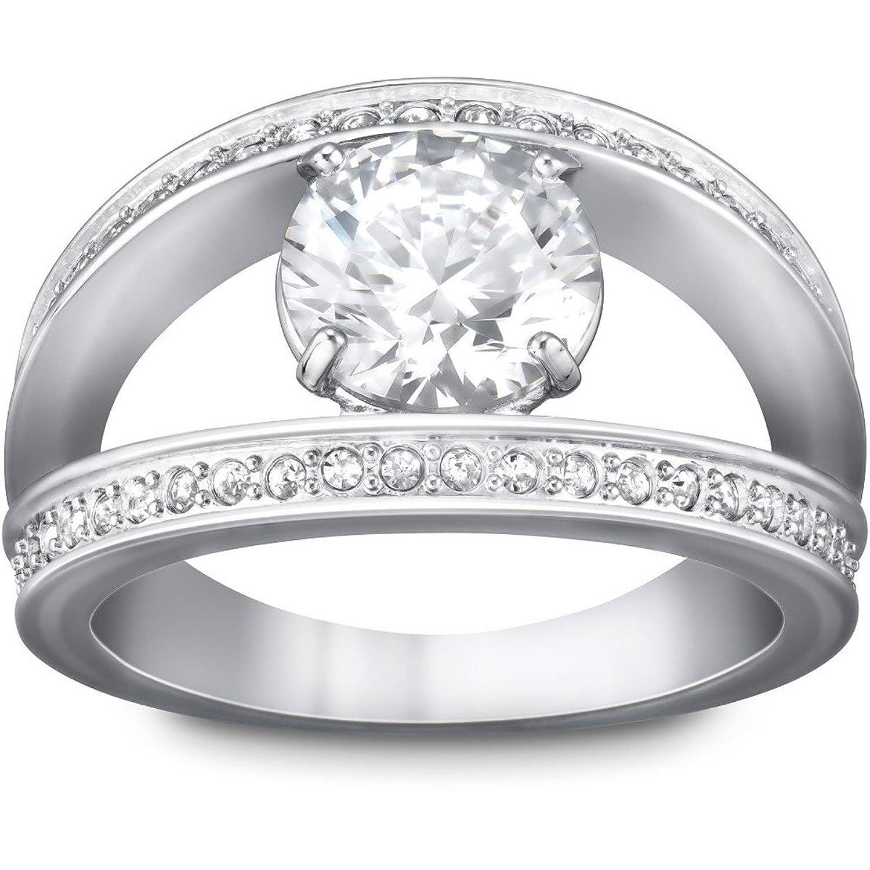 Swarovski Damen-Ring Metall Swarovski-Kristall weiß  50077