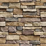 """Stone Peel and Stick Wallpaper - Self Adhesive Wallpaper - Easily Removable Wallpaper - Brick Peel and Stick Wallpaper – Use as Wall Paper, Contact Paper, or Shelf Paper (1, 17.71"""" Wide x 118"""" Long) (Color: Stone, Tamaño: 17.71"""