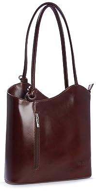 Big Handbag Shop Sac à main bandoulière en cuir italien