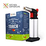 Professional Culinary Torch (Butane) Kitchen Cooking Tool for Searing Food, Meat, Crème Brulee | Adjustable Flame, Safety Lock | Chef Craftsmanship, Home Use (Color: Silver)