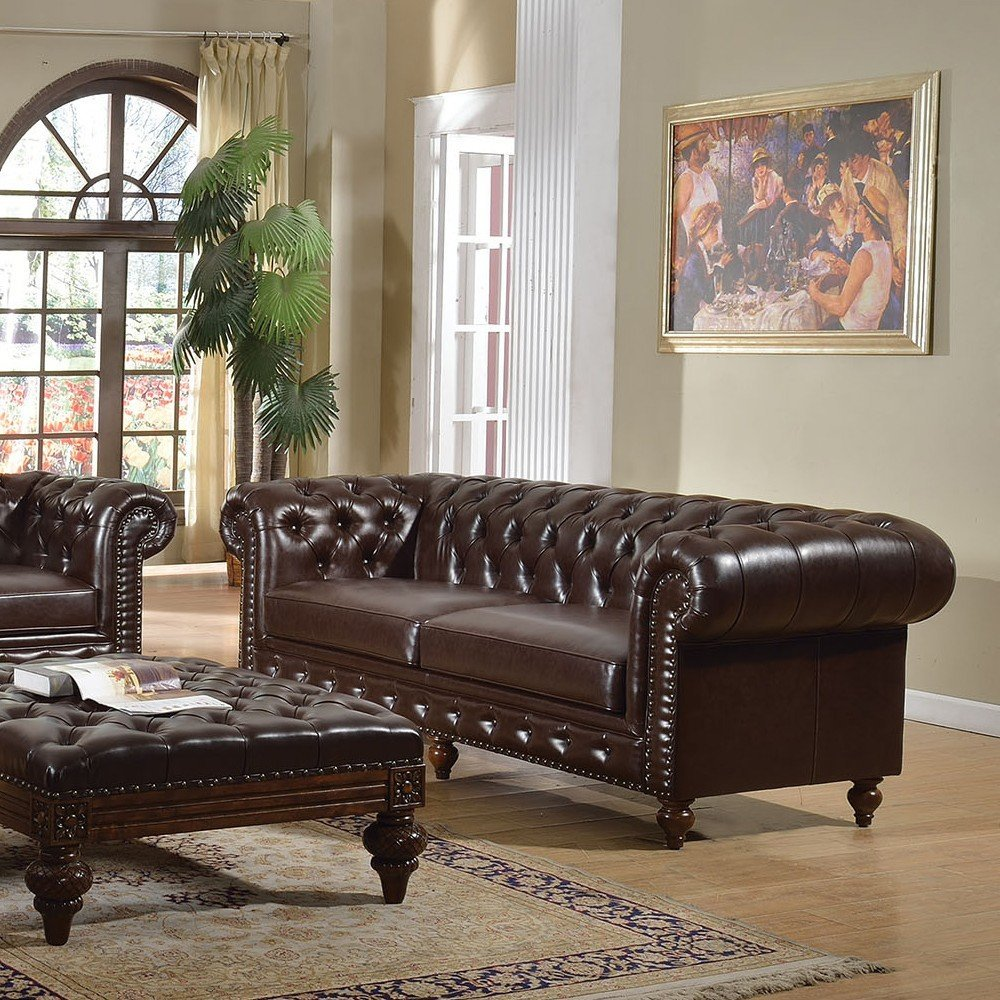 1PerfectChoice Shantoria Dark Brown Bonded Leather Sofa
