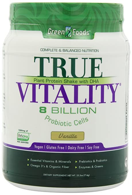 Green Foods True Vitality Plant Protein Shake, Vanilla, 25.2 Ounce