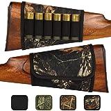 BronzeDog Adjustable Buttstock Rifle Cartridge Ammo Holder 12 16 Gauge Nylon Camo Gun Shell Holder Hunting Rest Pouch Bag Stock Right Handed Shotgun (Black Oak Camo) (Color: Black Oak Camo)