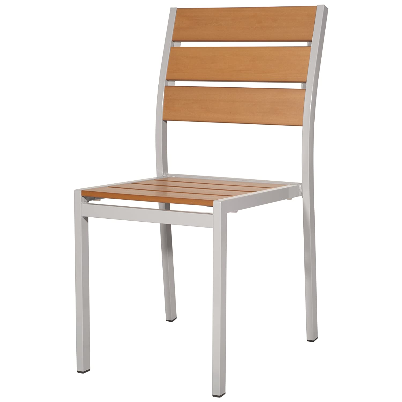 Gartenstuhl Polywood Polyholz teak braun ALU Stuhl ohne Armlehne jetzt bestellen