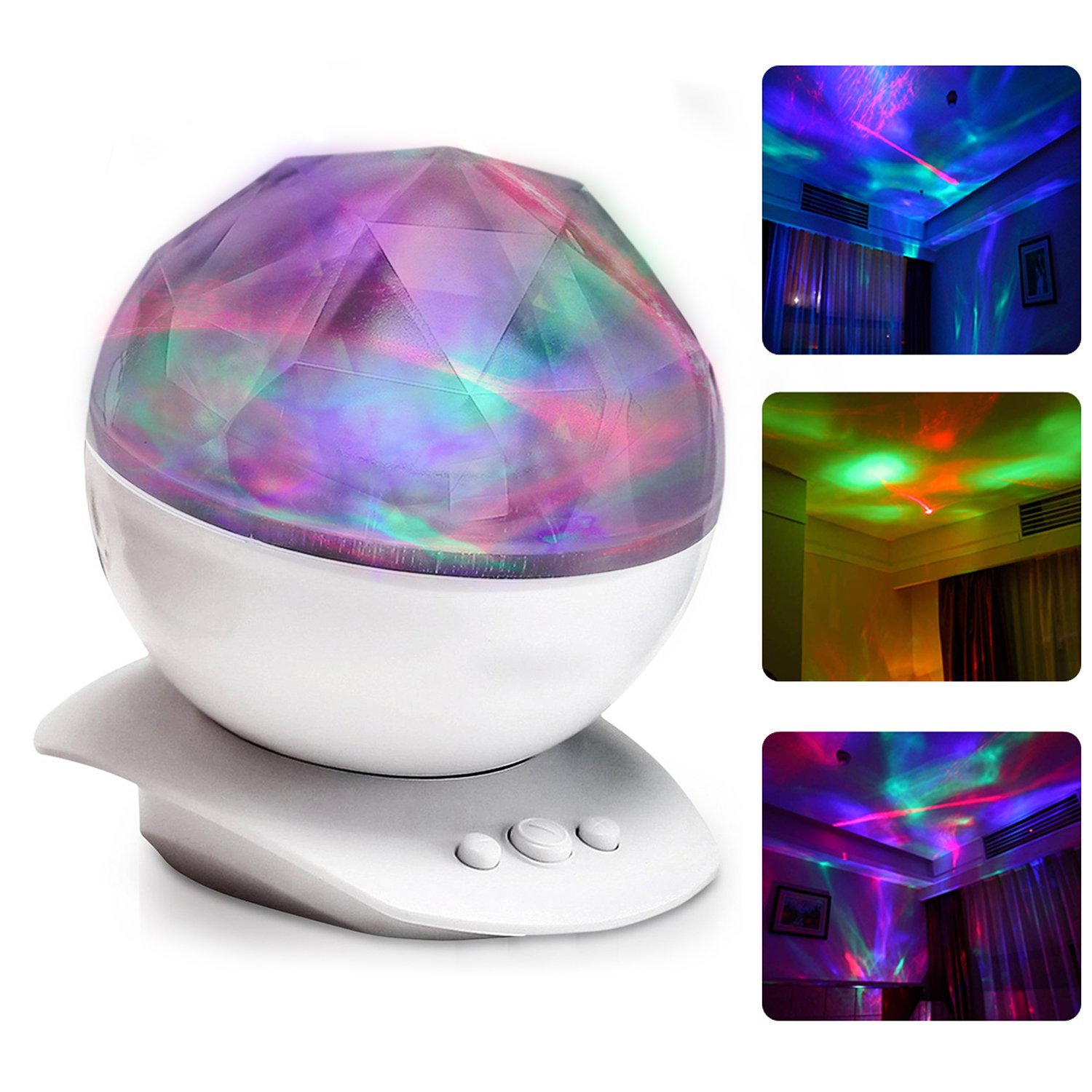 Night Light Projector, Amir Color Changing Aurora Borealis Light (12 LED Bulbs -8 Colors), Stereo Speakers, Sleep Aid Light, Decorative Light, Mood Light -Perfect for Kid