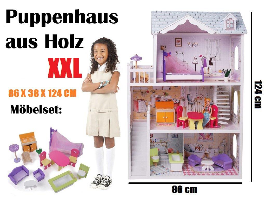 XXL Holz Puppenhaus Barbiehaus Puppenstube Set mit Möbeln 3 Etagen 4108 jetzt bestellen