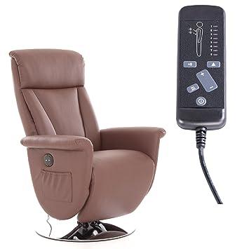 Fernsehsessel mit Massage, Liege und Heizfunktion in Kunstleder braun - elektrischer TV Relaxsessel mit Fernbedienung