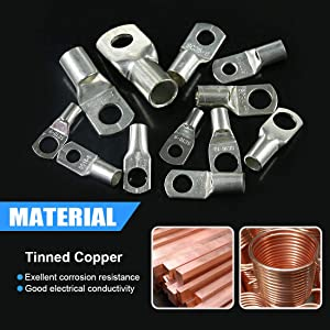 Glarks 105Pcs 12 Type Heavy Duty Lugs Battery Cable Tinned Copper Eyelets Tubular SC Ring Terminals Connectors with Spy Hole Assortment Kit