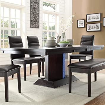 Homelegance Pulse Dining Table with Extension Leaf - Rich Espresso