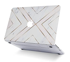 LuvCase 4 in 1 Hard Shell Cover with Sleeve, Keyboard Cover and Screen Protector Compatible Old MacBook Pro 15 Retina Display (2015/2014/2013/2012) A1398 (NO CD Drive) (White Marble Gold Stripes) (Color: White Marble Gold Stripes with Sleeve, Keyboard Cover and Screen Protector, Tamaño: A1398 Old Pro 15 Retina (2015))
