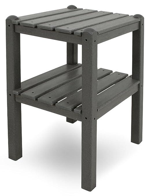 CASA BRUNO South Beach mesa rincón con 2 baldas, HDPE poly-madera, gris pizarro - garantizada resistencia a la intemperie