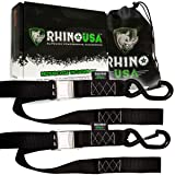 RHINO USA Motorcycle Tie Down Straps (2 Pack) Lab Tested 3,328lb Break Strength, Steel Cambuckle Tiedown Set with Integrated Soft Loops - Better Than a Ratchet Strap (Color: 2pk Black, Tamaño: 2 Pack)