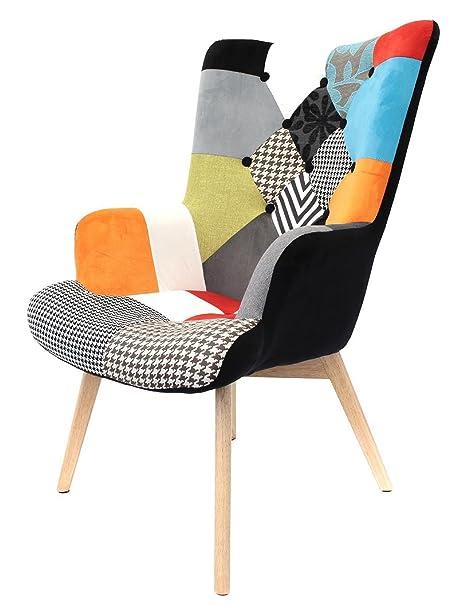 Fauteuil en bois et métal multicolore - Dim : H 80 x L 91 x P 69 cm - PEGANE -