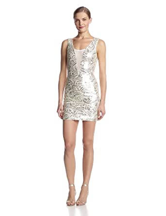 Ark & Co Women's Sequin Body Contrast Dress with Mesh Insert, Gold, Small